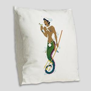 Seahorse Sailor Burlap Throw Pillow