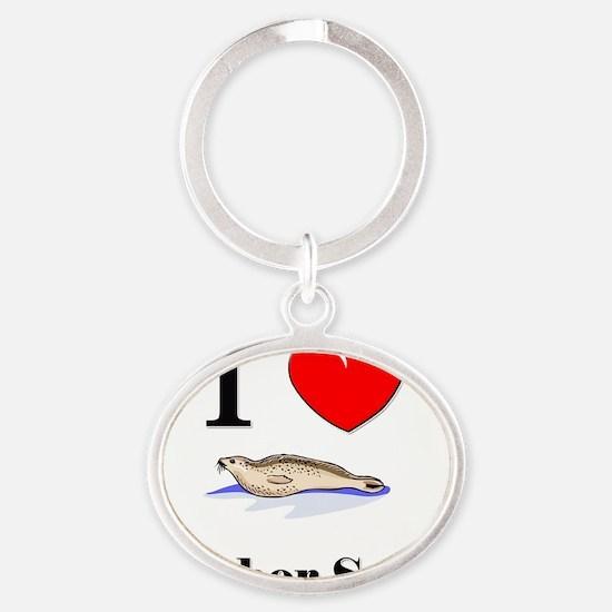 Harbor-Seals142183 Oval Keychain