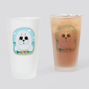 Baby Seal and fish (txt) Drinking Glass