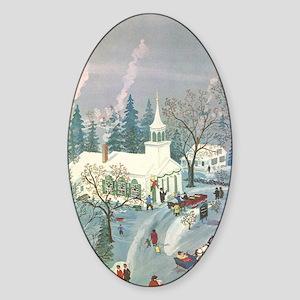 Vintage Christmas Church Sticker (Oval)