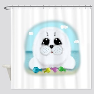 Baby Seal and fish (txt) Shower Curtain