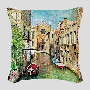 Vintage Grunge Venice Photo Woven Throw Pillow