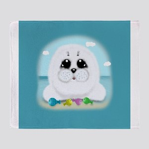 Baby Seal and fish (scwb) Throw Blanket
