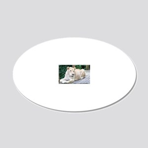 White Lion 20x12 Oval Wall Decal