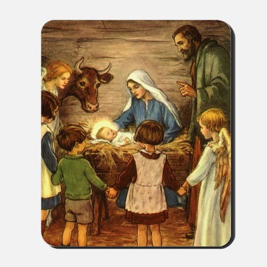 Vintage Christmas Nativity Mousepad