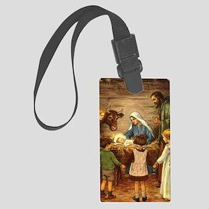 Vintage Christmas Nativity Large Luggage Tag