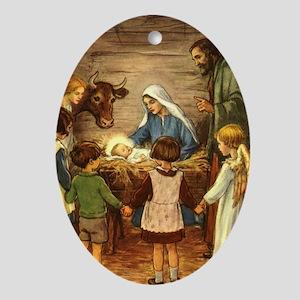 Vintage Christmas Nativity Oval Ornament