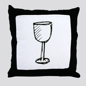 A Wine Glass Pen Illustration Throw Pillow
