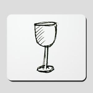 A Wine Glass Pen Illustration Mousepad