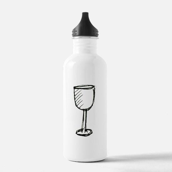 A Wine Glass Pen Illustration Water Bottle