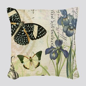 modern vintage French butterflies and iris Woven T
