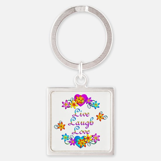 Live Laugh Love Flowers Square Keychain