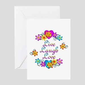 Live Laugh Love Flowers Greeting Card
