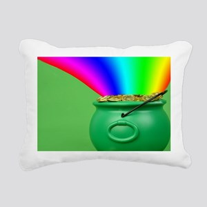 Rainbow and Pot of Gold Rectangular Canvas Pillow