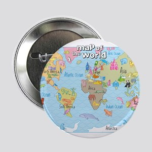 """World Map For Kids - Hand Drawn Design 2.25"""" Butto"""