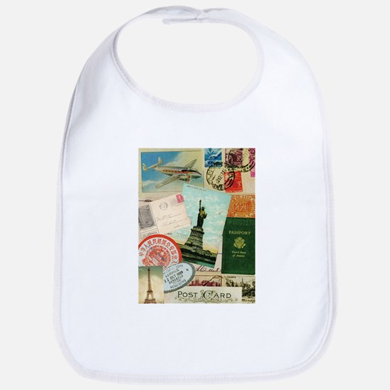 Vintage Passport travel collage Bib