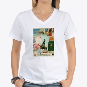 Vintage Passport travel collage T-Shirt