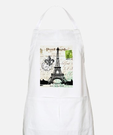 Vintage French Carte Postale Eiffel Tower Apron