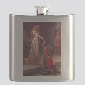 Knight and His Queen Victorian art Flask