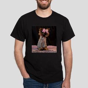 Mens Dark T-Shirt Freida wearing her pink bow
