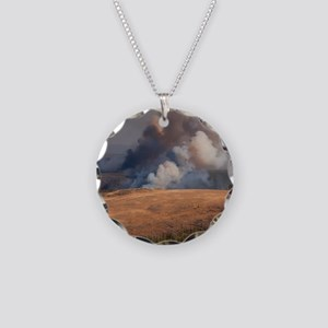 Fire in Yellowstone Necklace Circle Charm