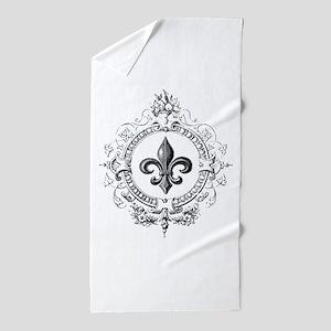 Vintage French Fleur de lis Beach Towel
