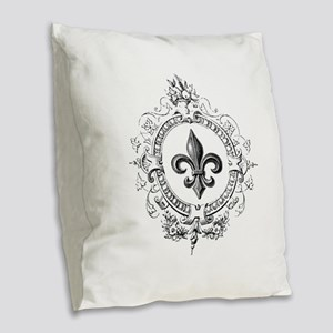 Vintage French Fleur de lis Burlap Throw Pillow