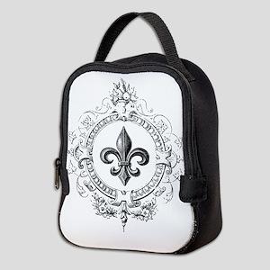 Vintage French Fleur de lis Neoprene Lunch Bag