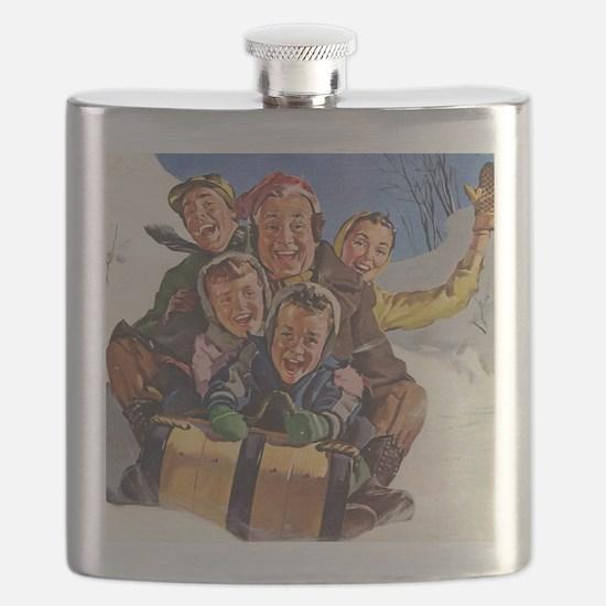 Vintage Christmas Family Sledding Flask