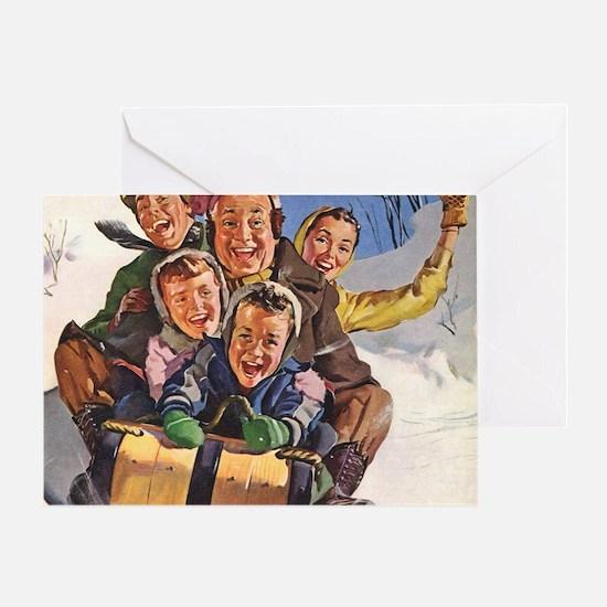 Vintage Christmas Family Sledding Greeting Card
