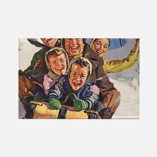 Vintage Christmas Family Sledding Rectangle Magnet
