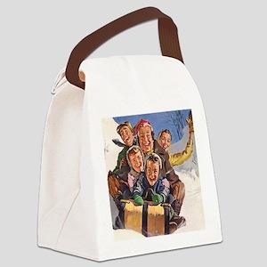 Vintage Christmas Family Sledding Canvas Lunch Bag