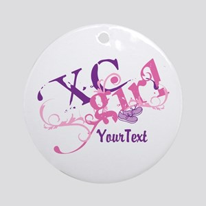 Customize XC Cross-Country Girl Round Ornament