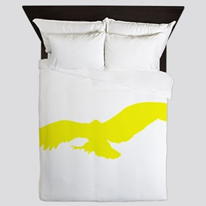 Yellow Flying Eagle Silhouette Queen Duvet
