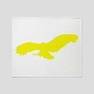 Yellow Flying Eagle Silhouette Throw Blanket