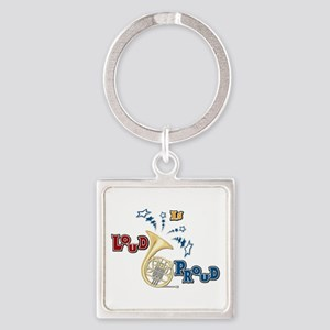 French Horn - Band Music Square Keychain