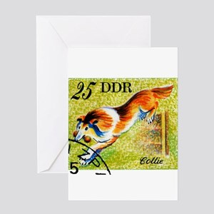Vintage 1976 East Germany Collie Dog Stamp Greetin