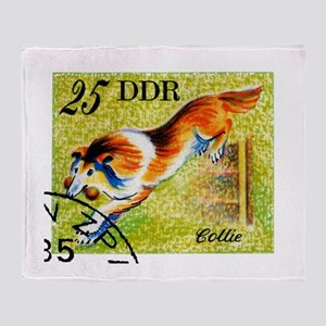 Vintage 1976 East Germany Collie Dog Stamp Throw B