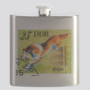 Vintage 1976 East Germany Collie Dog Stamp Flask