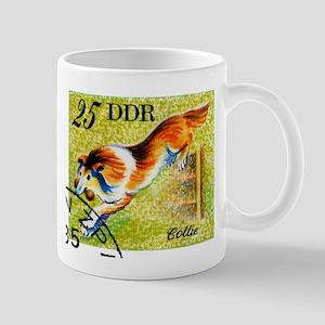 Vintage 1976 East Germany Collie Dog Stamp Mug