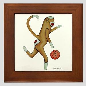 Basketball Sock Monkey Framed Tile