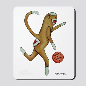 Basketball Sock Monkey Mousepad Vertical