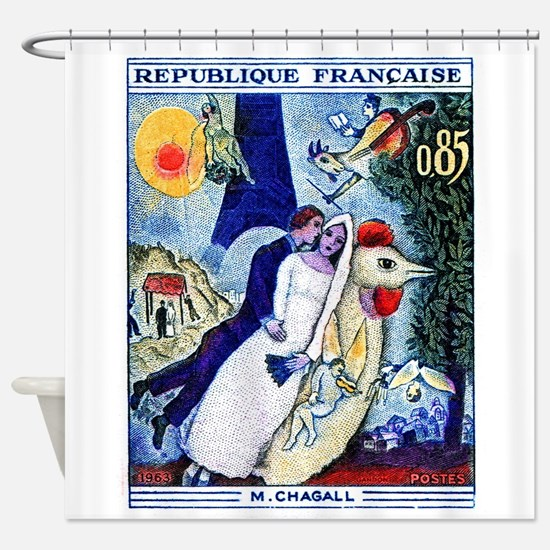 1963 France Les Fiancees Chagall Painting Stamp Sh