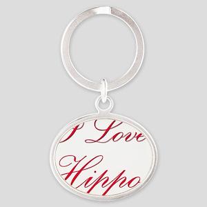 Hippos39 Oval Keychain