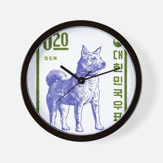 Vintage 1962 Korea Jindo Dog Postage Stamp Wall Cl