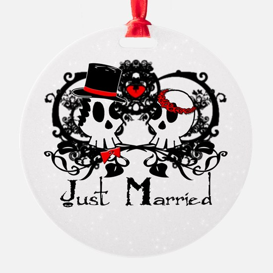 Just Married Skulls Ornament