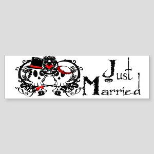 Just Married Skulls Sticker (Bumper)