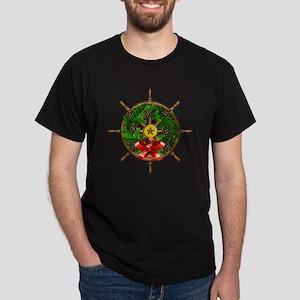 Nautical Ships Wheel Wreath with Bow Dark T-Shirt