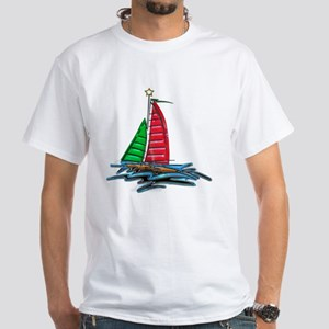 Red & Green Christmas Sailboat White T-Shirt