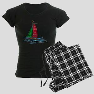 Red & Green Christmas Sailbo Women's Dark Pajamas